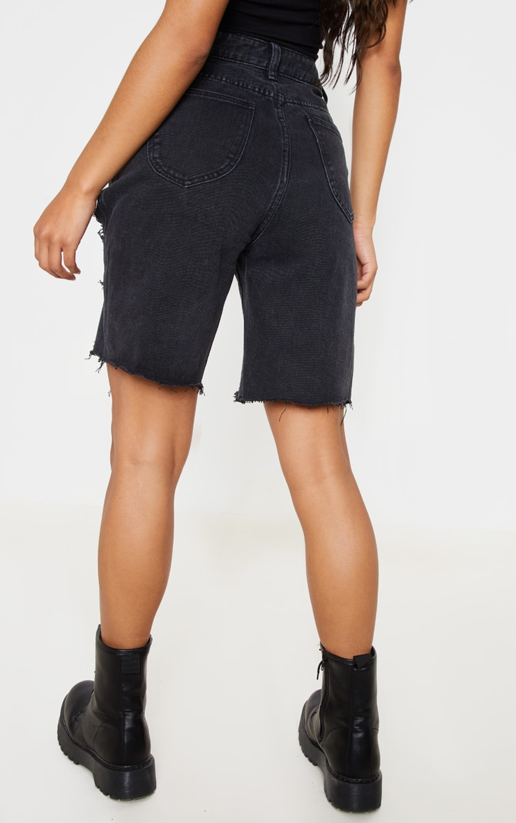 Washed Black Heavy Distressed Mom Shorts 4