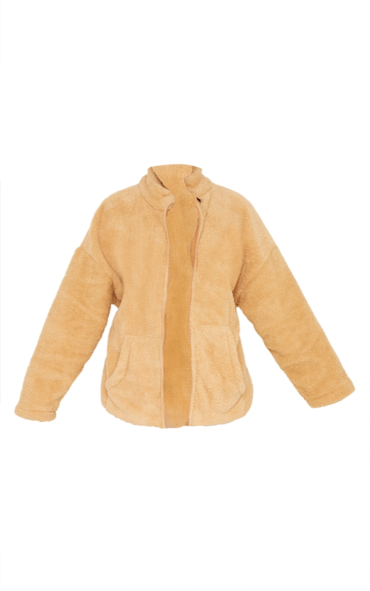 Camel Teddy Borg Side Pocket Jacket 5