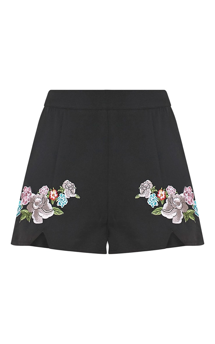 Angie Black Floral Embroidered Shorts 2