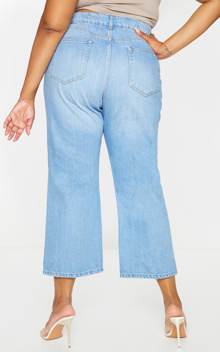 Plus Light Wash Wide Leg Denim Cropped Jeans 3