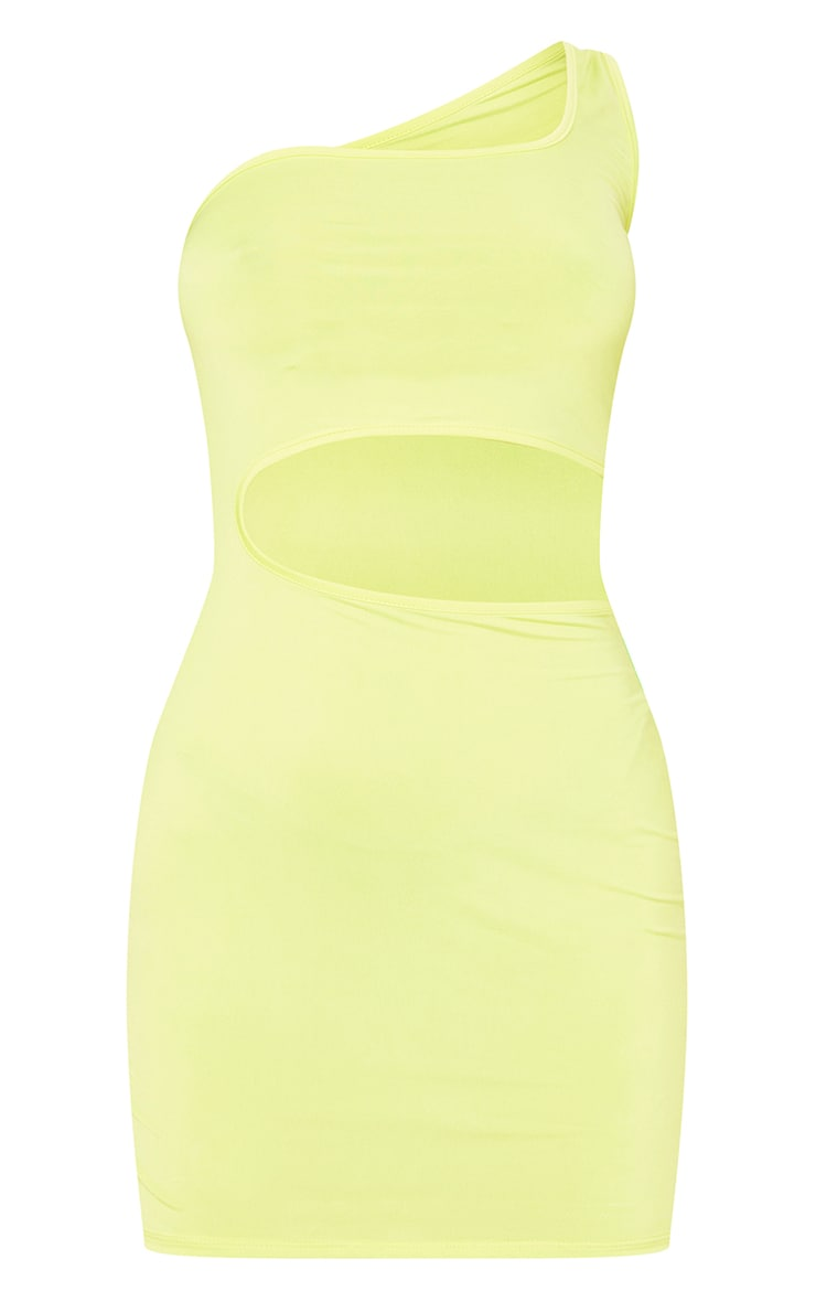 Lime Slinky One Shoulder Waist Cut Out Bodycon Dress 5