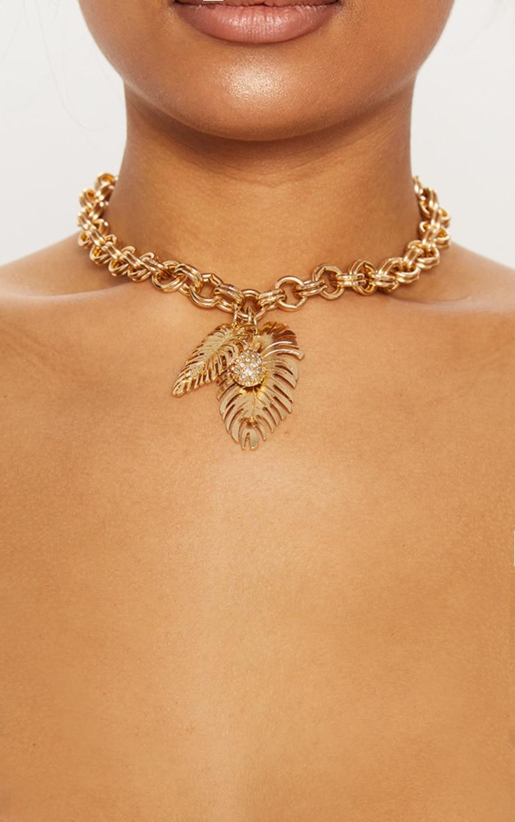 Gold Pineapple Leaf Chunky Chain Choker 1