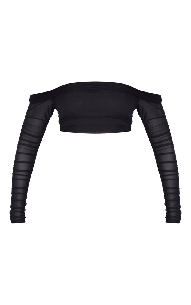 Black Mesh Bardot Ruched Sleeve Crop Top 3