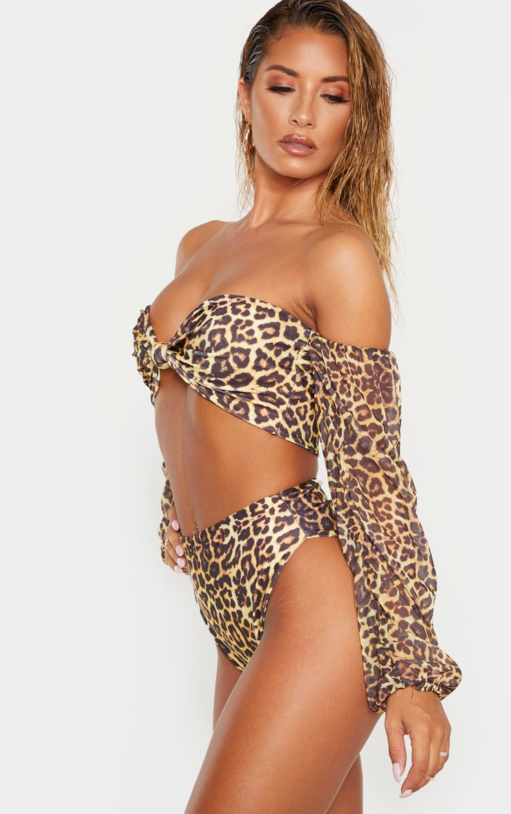 Leopard Mix & Match High Waisted High Leg Bikini Bottom 2