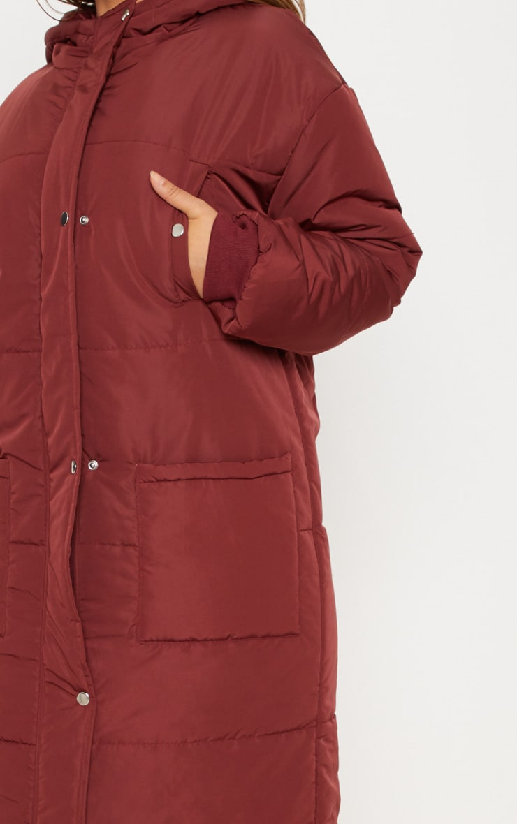 Plus Burgundy Longline Puffer Coat 5
