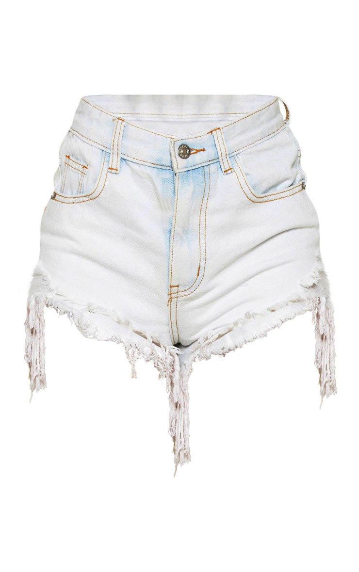 Bleach Wash Distressed Denim Shorts  3