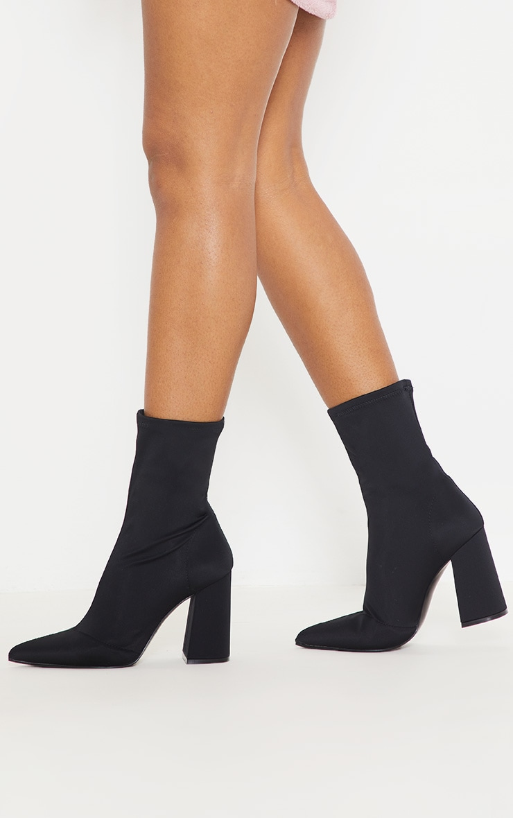 Black Block Heeled Point Toe Sock Boot 2