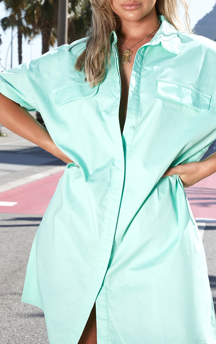 Mint Oversized Utility Shirt Dress 5