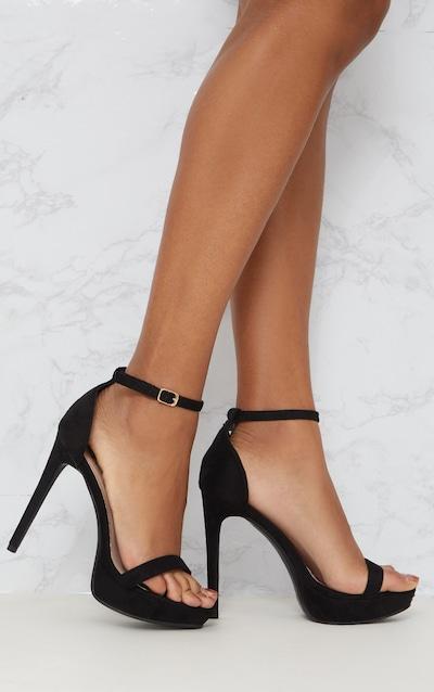 bdaf2c03b17186 Black Platform Strap Heeled Sandal