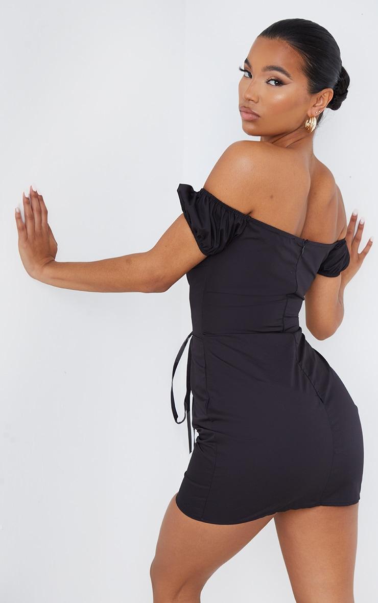 Black Woven Bardot Lace Up Detail Bodycon Dress 2