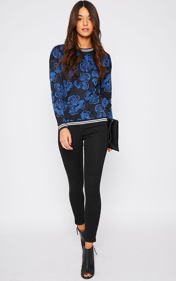 Valentina Blue Floral Embroidered Sports Trim Sweater 3