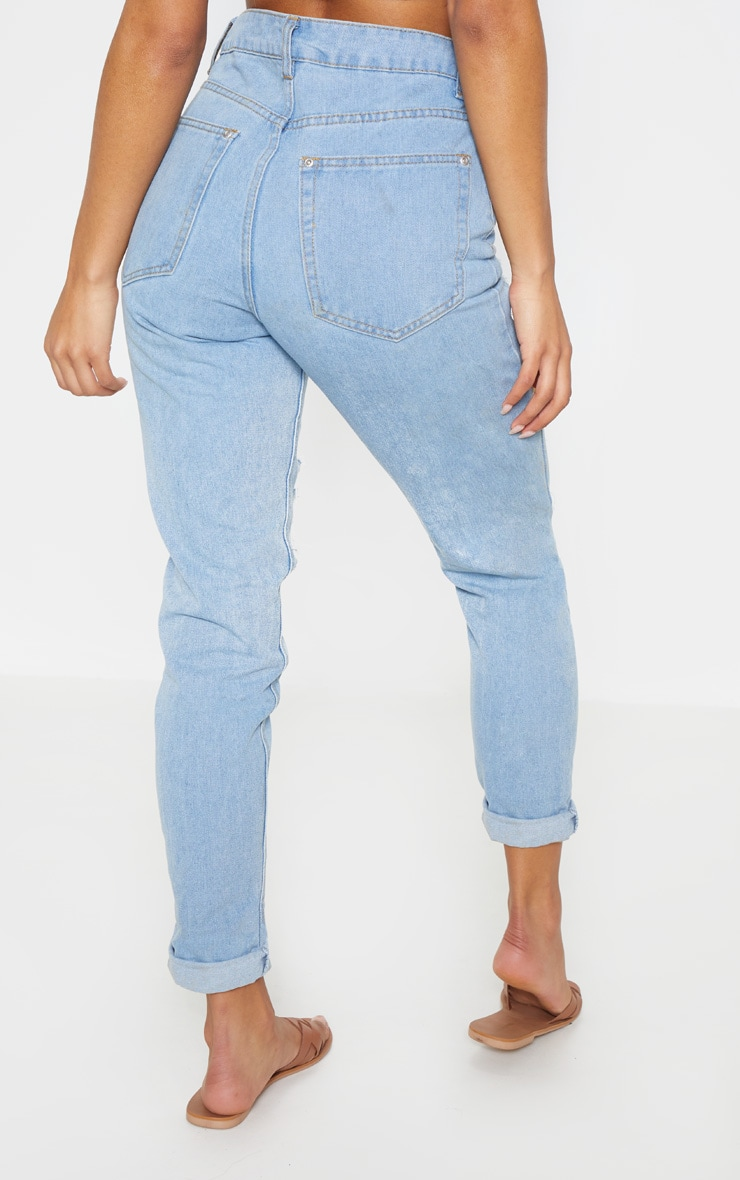 Light Wash Super Distress Mom Jean 5