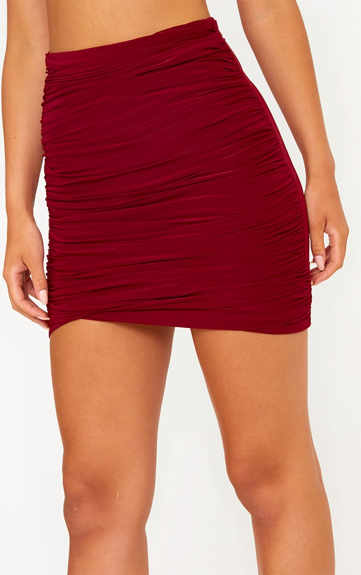 Burgundy Ruched Layered Slinky Mini Skirt 5