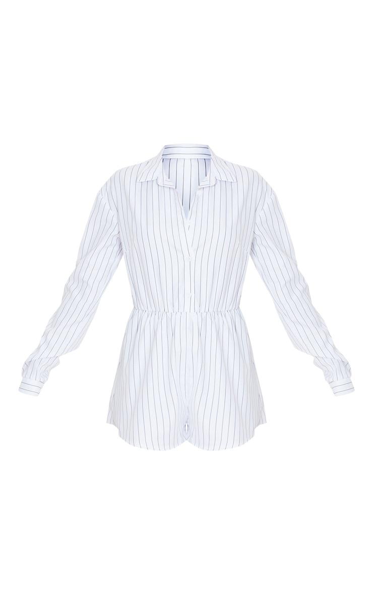 White Pinstripe Print Shirt Playsuit 3