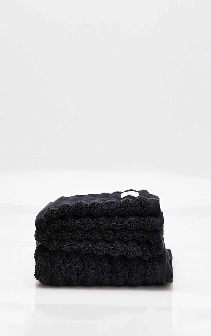 Black Textured Ribbed 2 Pack Cotton Hand Towel 3