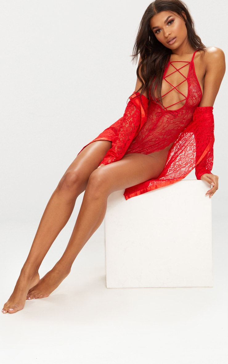 Red Extreme High Leg Lace Up Front Body 6
