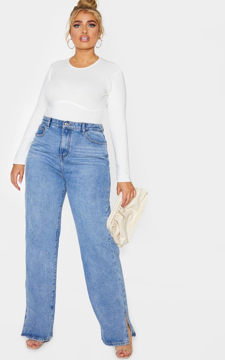 Plus Cream Cotton Bust Detail Bodysuit 3