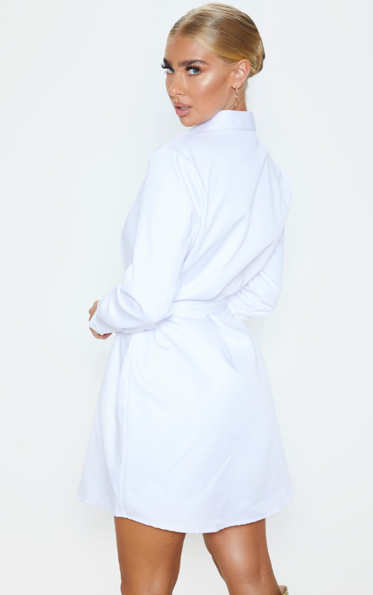 White Pleated Shirt Dress 2