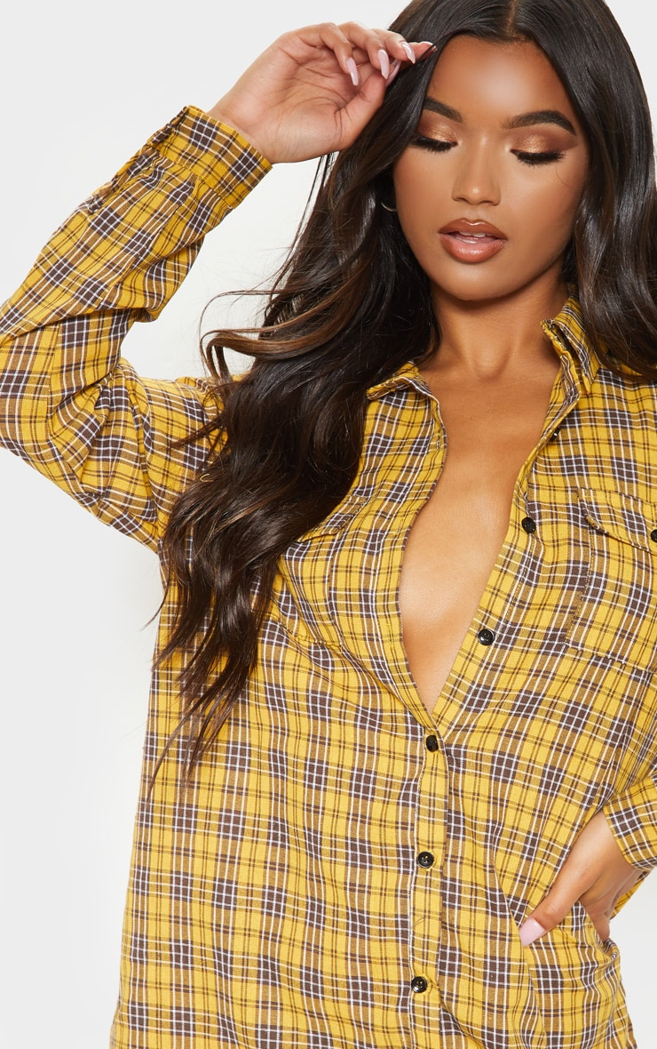Yellow Checked Oversized Shirt Dress 5