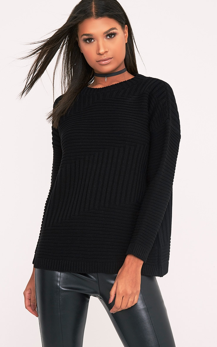 Emersyn Black Two Way Chunky Knit Jumper 1