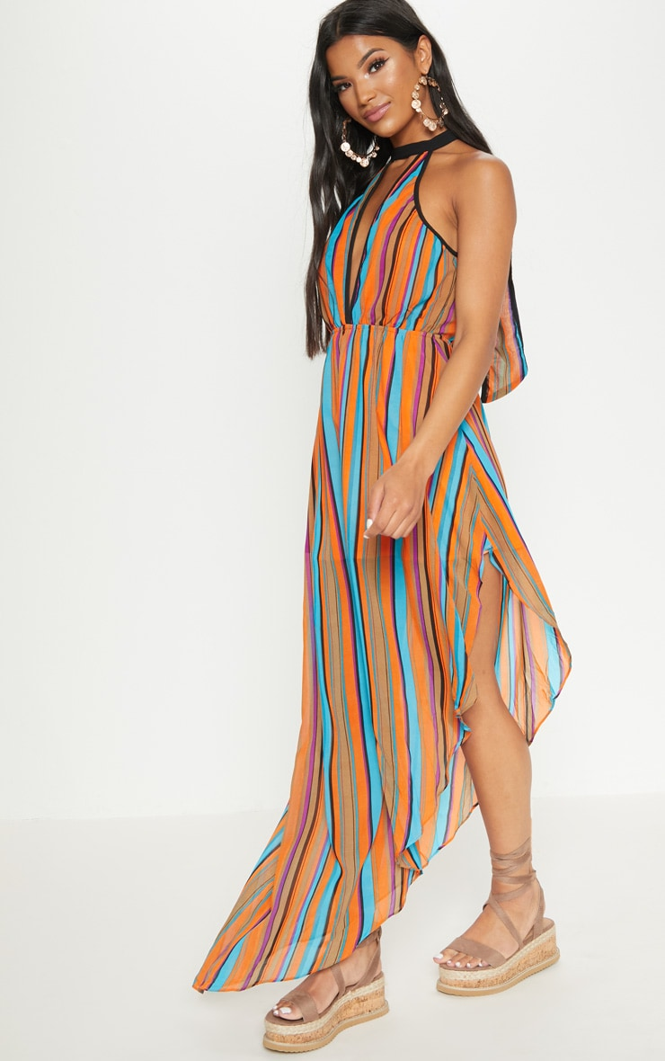 Orange Plunge Stripe Maxi Dress  1