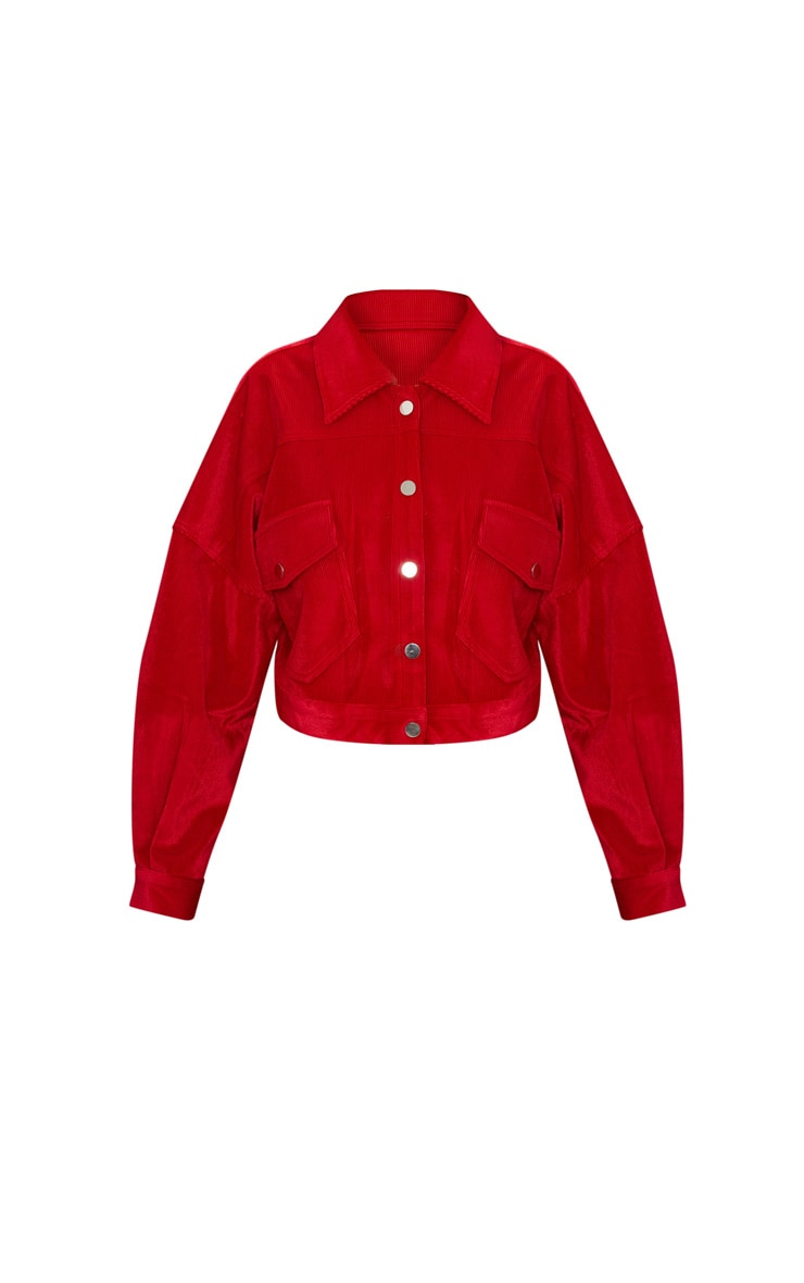 Red Cord Oversized Trucker Jacket 3