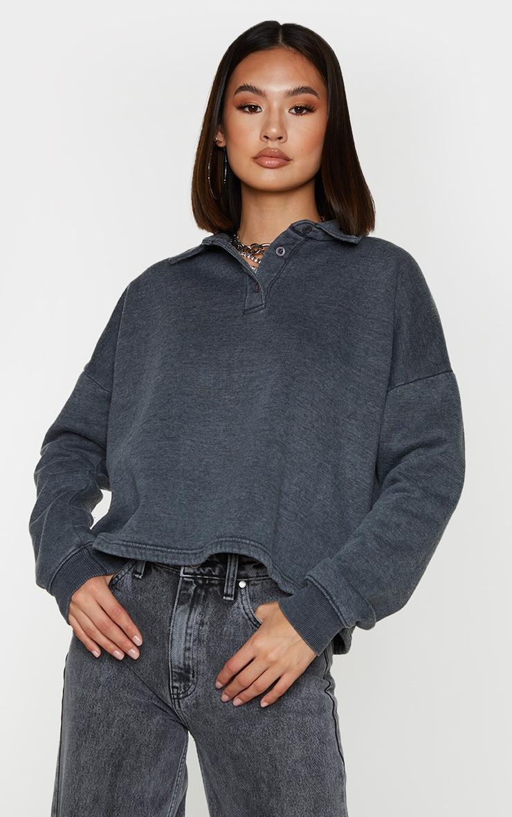 Grey Washed Oversized Sweat Polo Shirt 1
