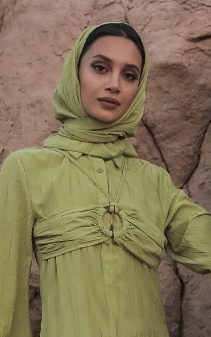 Olive Crinkle Woven Headscarf 1