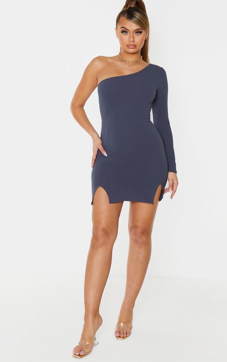 Charcoal Blue One Shoulder Double Split Hem Bodycon Dress 4