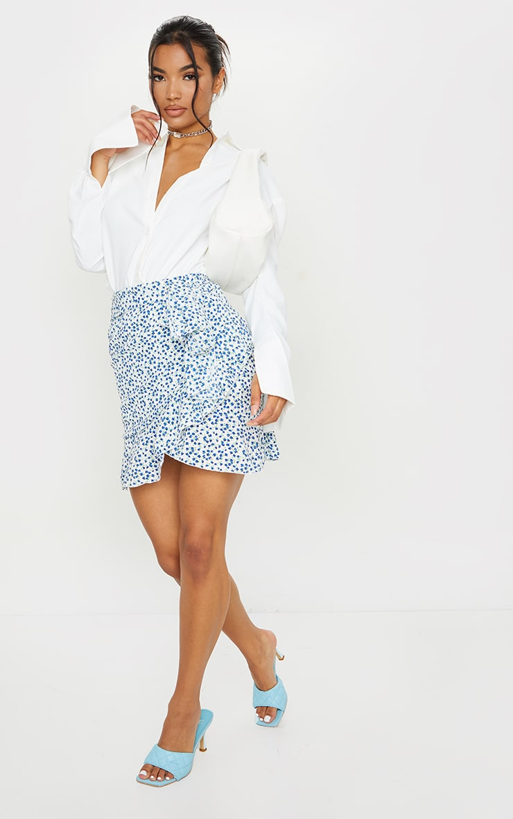 Blue Floral Tie Detail Frill Edge Wrap Mini Skirt 4