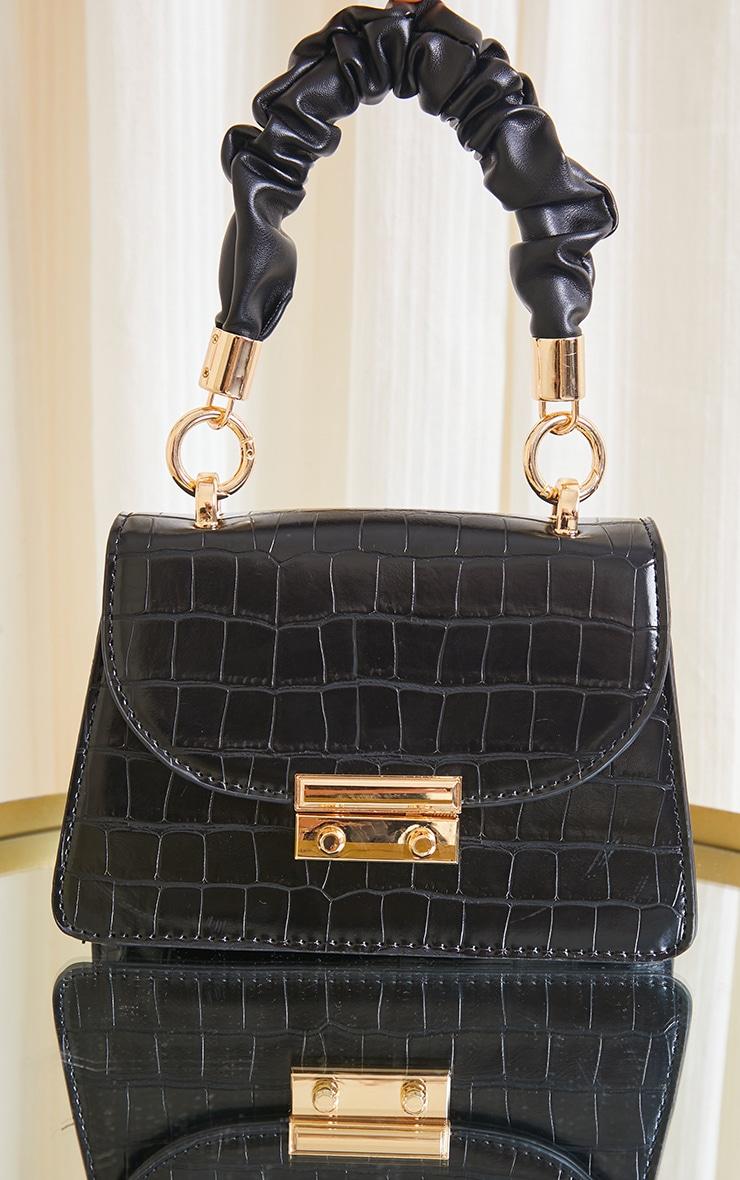 Black Ruched Handle Croc Grab Bag 1
