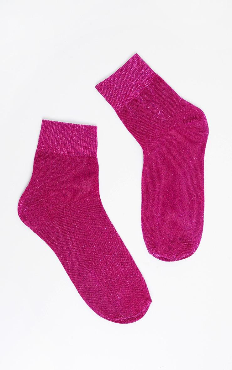 Pink Glitter Socks  3