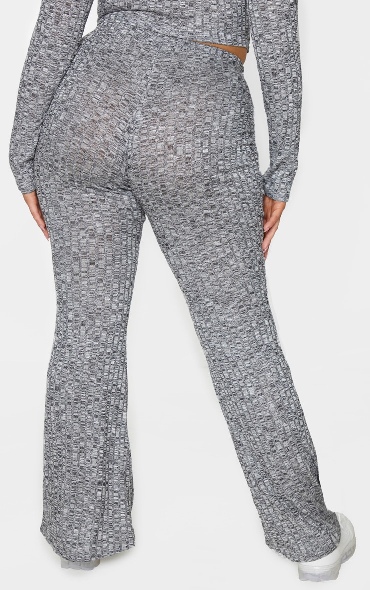 Plus Grey Knitted Rib Wide Leg Trousers 3