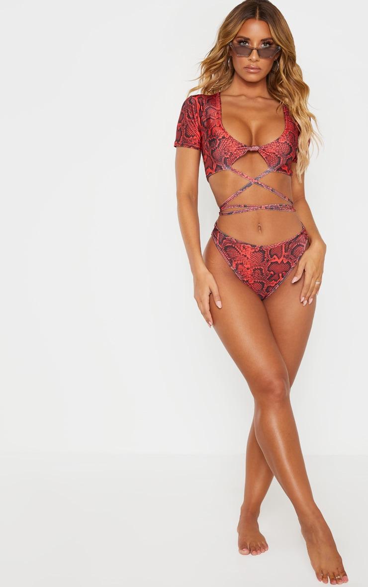 Red Snake Print Wrap Around Knot Front Bikini Top 3