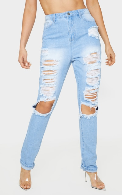 Tall Mid Wash Denim Distress Jean