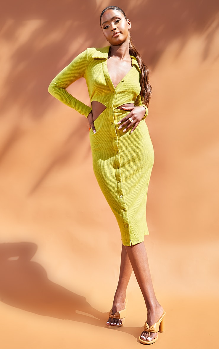 Olive Brushed Rib Cut Out Polo Collar Midaxi Dress 1