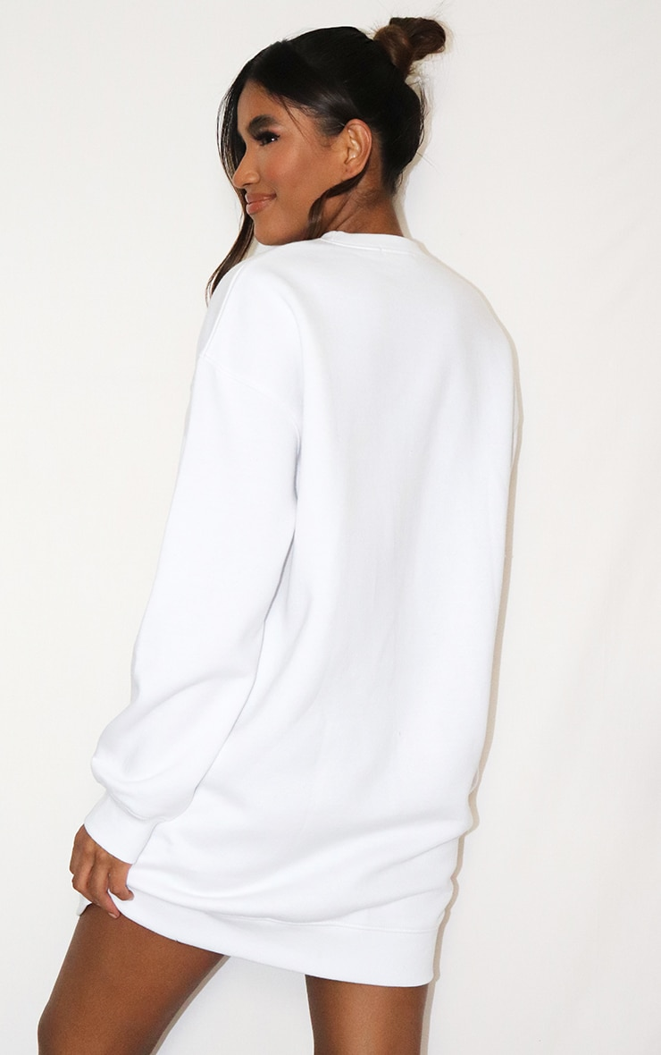 PRETTYLITTLETHING White Tonal Embroidered Sweat Jumper Dress 2
