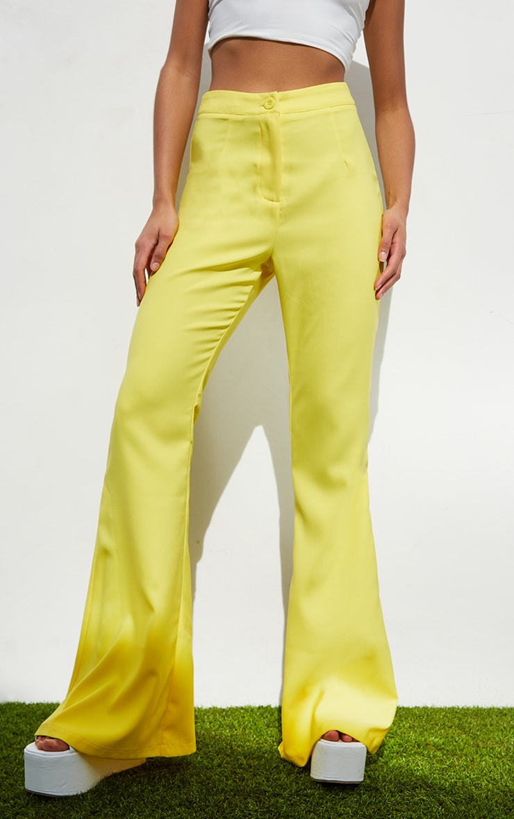 Yellow Woven Flared Trousers 2