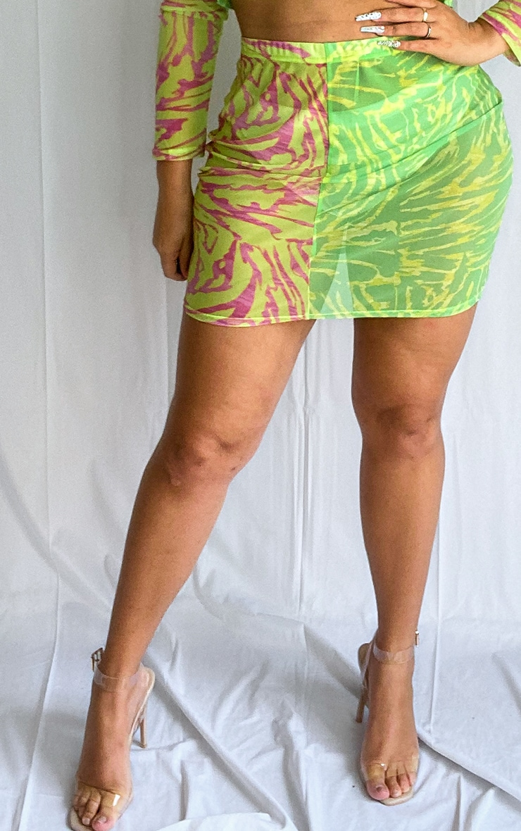 Plus Lime Abstract Print Mesh Mini Skirt 2