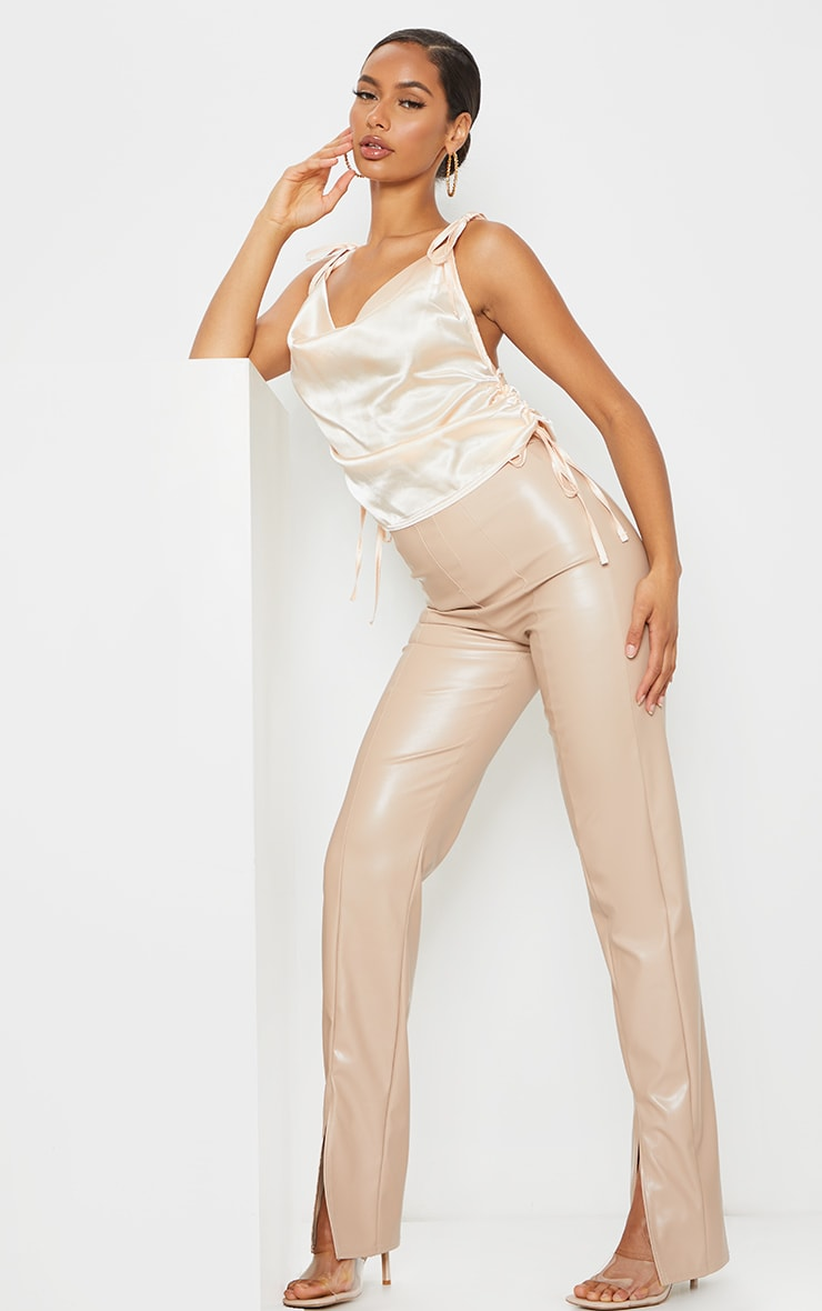 Champagne Satin Ruched Side Seam Cami Top 3