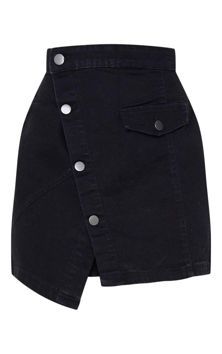 Black Pocket Button Through Asymmetric Denim Skirt 3