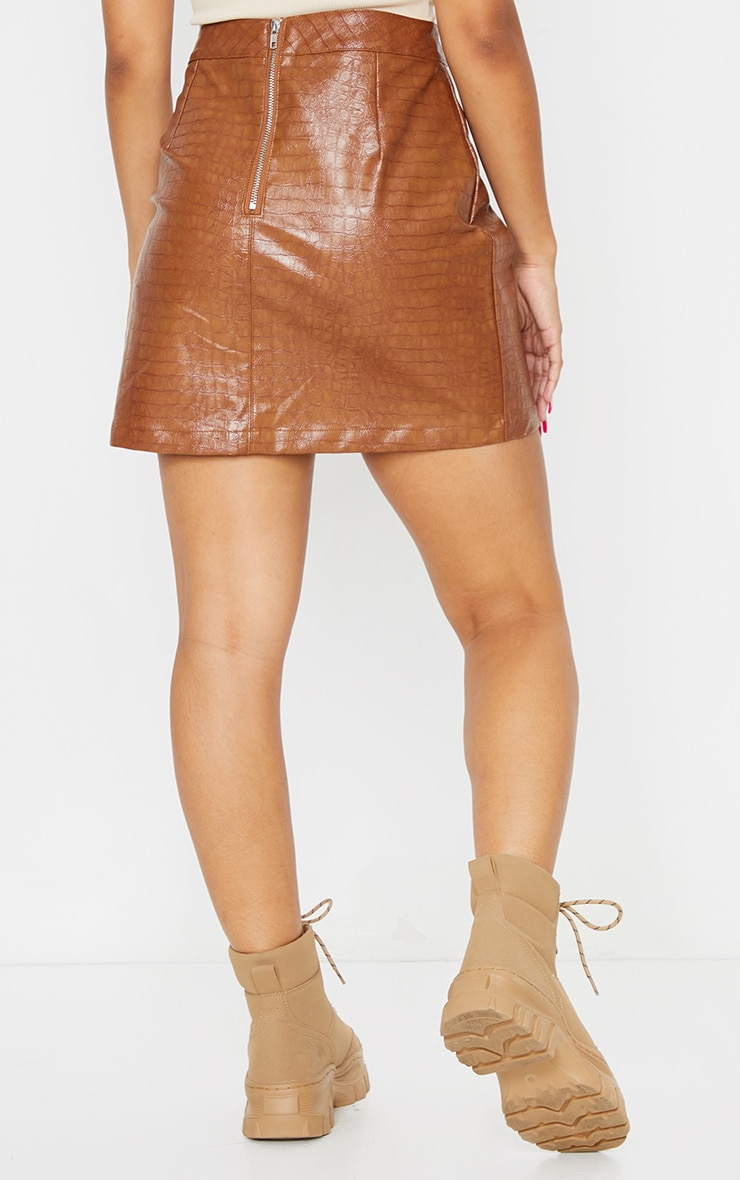 Tan Croc Vinyl Seam Detail Mini Skirt 3