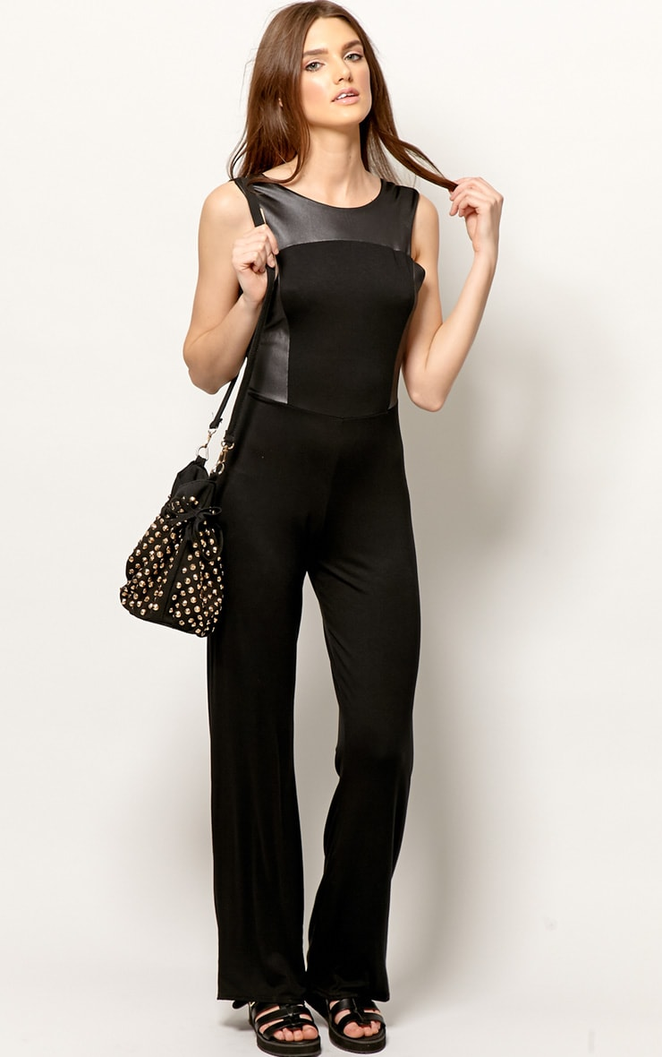 Evie Black & Leather Panel Jumpsuit 4