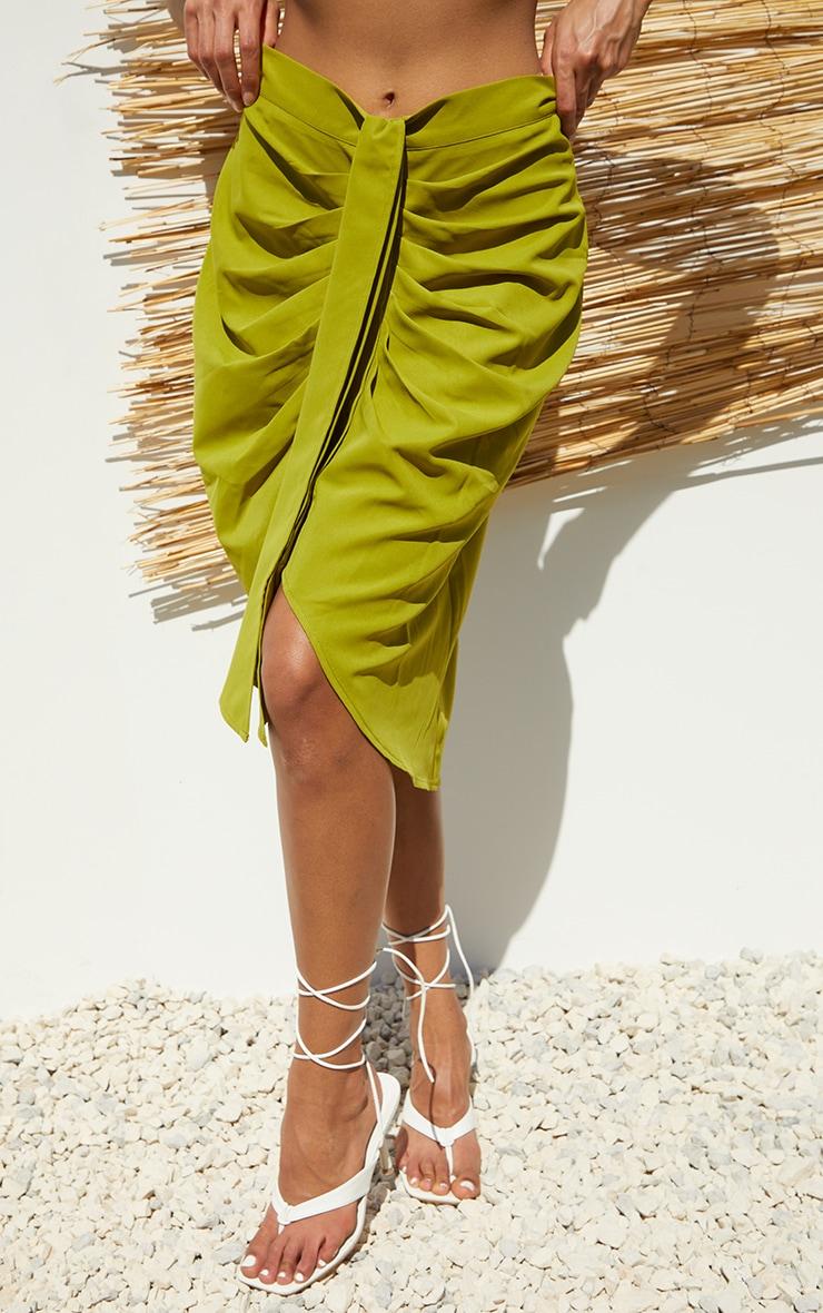 Lime Foldover Button Through Midi Skirt 2