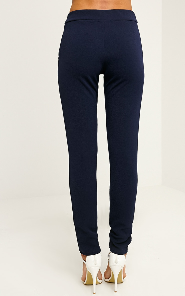 Sage Navy Crepe Cigarette Trousers 4