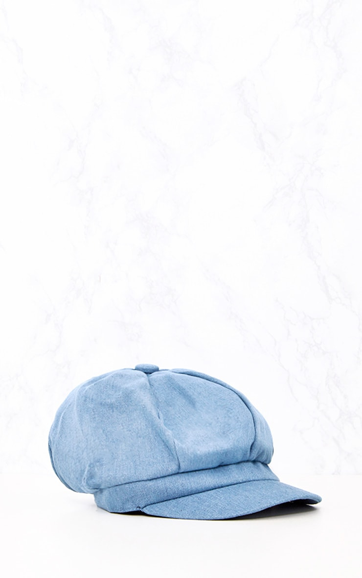Light Wash Denim Baker Boy Hat 4