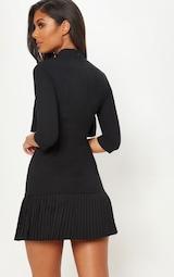 Black Pleated Detail Frill Hem Bodycon Dress 2