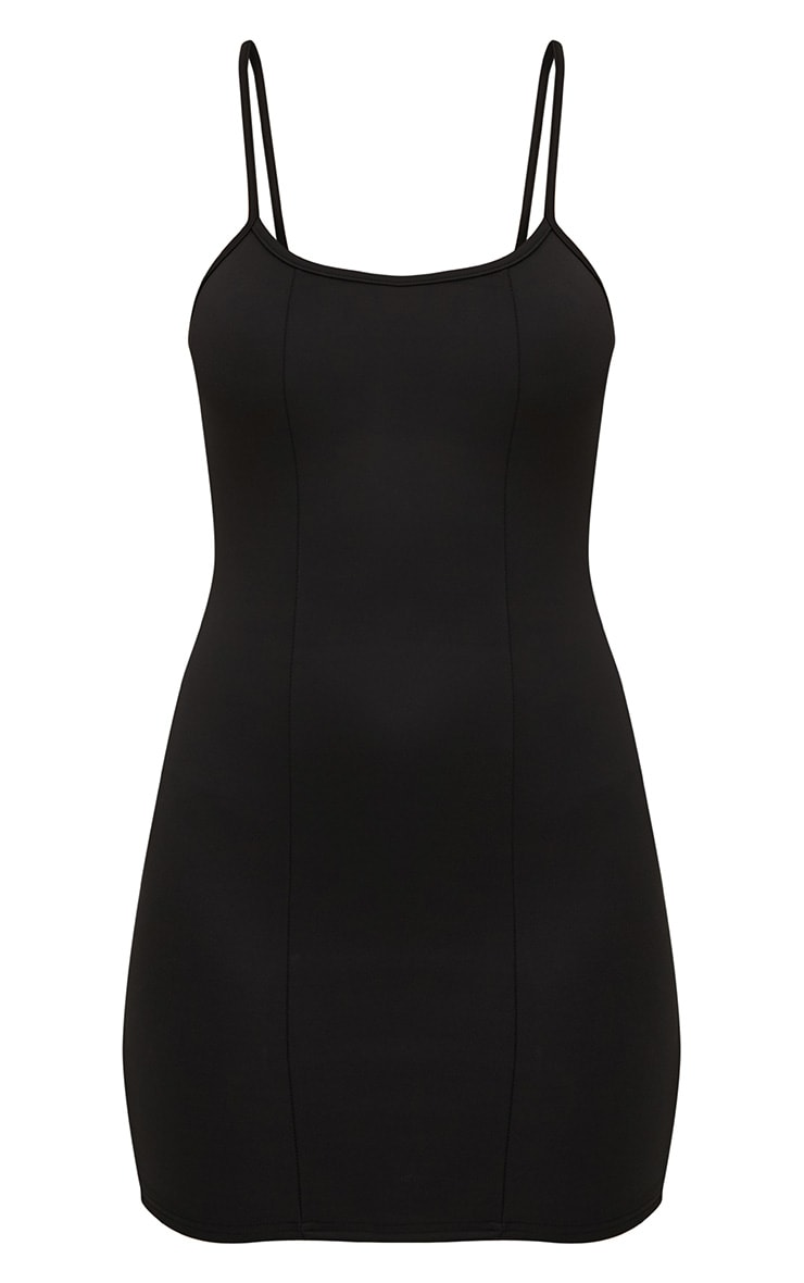 Black Strappy Panelled Bodycon Dress 3