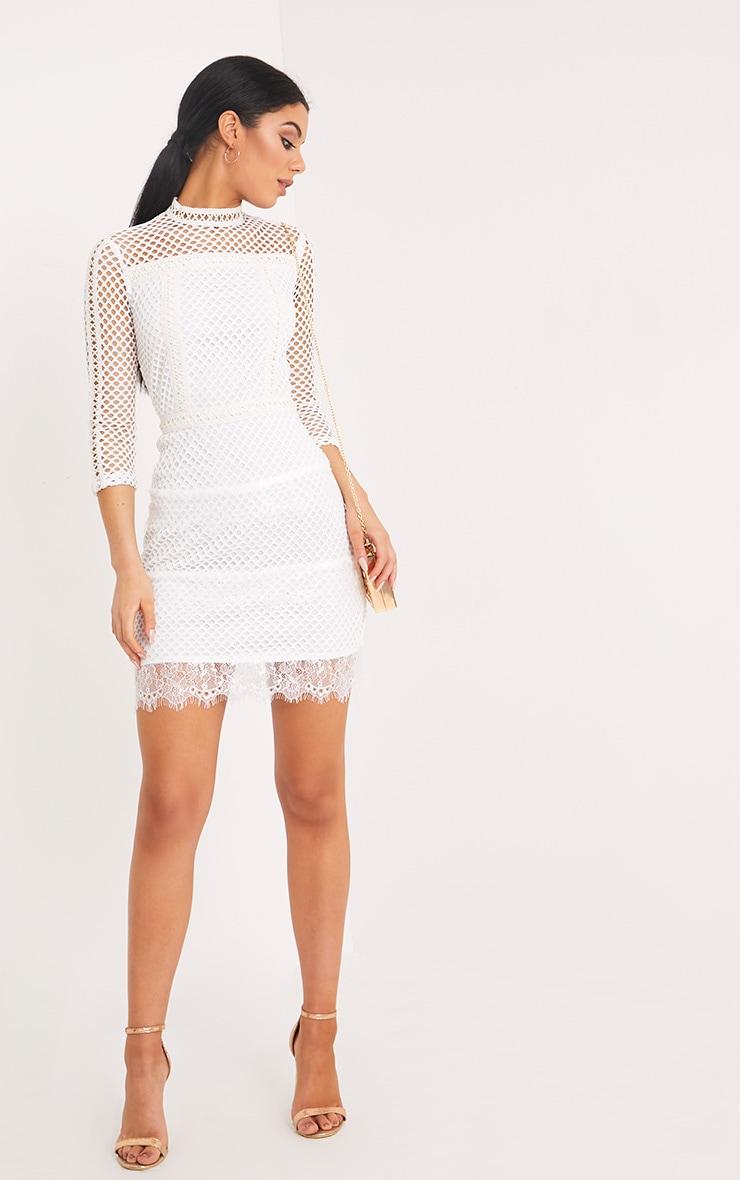 Jamey White High Neck PU Trim Fishnet Bodycon Dress 4