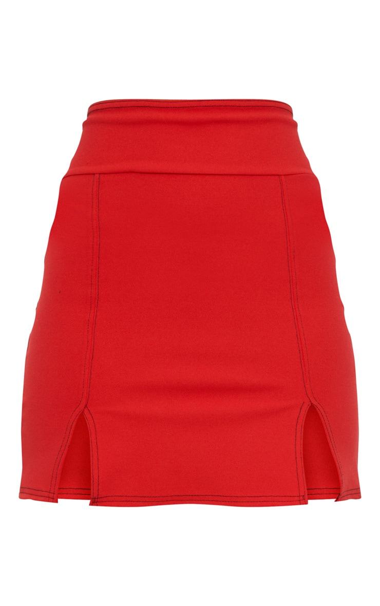 Red Super High Waisted Double Split Hem Mini Skirt  3
